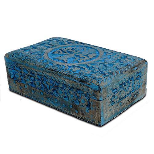 BHAVATU - Joyero hecho a mano de madera de mango azul con grabado de árbol de la vida, para mujeres y hombres, tallada a mano, para decorar el hogar