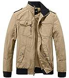 Wantdo Men's Cotton Stand Collar Windbreaker Jacket, Khaki2017, X-Large