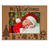 KATE POSH My 1st Christmas Picture Frame, My First, Baby's 1st Christmas, New Baby, Santa & Me Engraved Natural Wood Photo Frame (5x7-Horizontal - Classic)