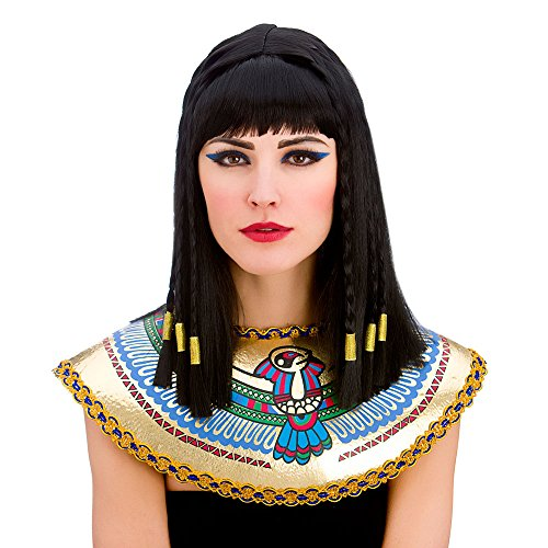 Ladies Cleopatra Wig with Fringe and Gold Braiding Egyptian Fancy Dress by Wicked Wicked