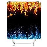 Gzsyb Duschvorhang 120x180 cm Anti-Schimmel Wasserdicht Duschvorhänge EIS & Feuer 3D Digitaldruck mit 12 Weiß Duschvorhangringen für Dusche in Badezimmer