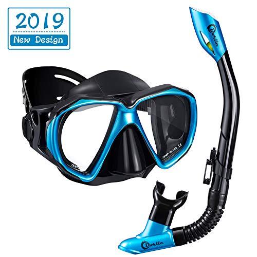 Dorlle Schnorchel Dry Schnorchelset Schnorchelmaske, Premium Erwachsene Schnorchel Tauchset mit Taucherbrille und Anti-Leck Anti-Fog Tauchmaske, Blau, Schwarz (Sets-Blau)