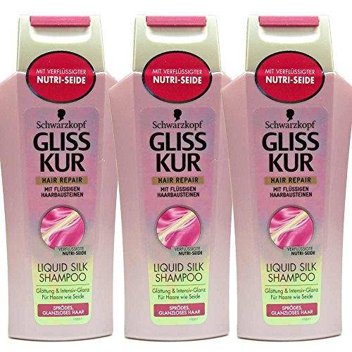3x Gliss Kur Hair Repair Liquid Silk Shampoo, sprödes glanzloses Haar - 250ml