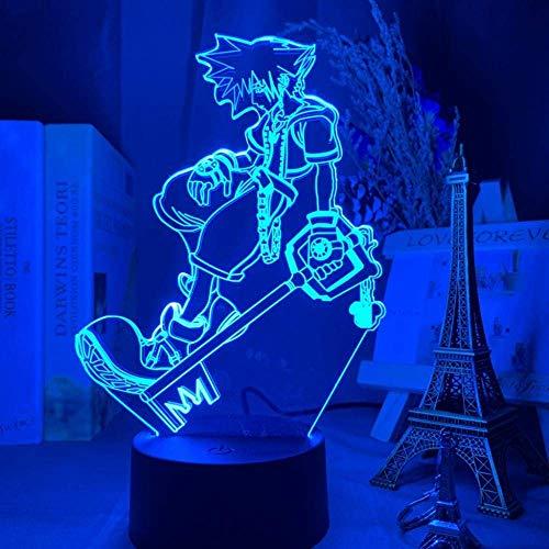 Juego de luces de noche de Anime 3D Kingdom Hearts Sora Keyade figura niño Led que cambia de color decoración de dormitorio de niños lámpara de noche Sora lámpara de cabecera con control remoto
