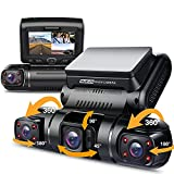 Pruveeo D90 3 Channel Dash Cam, 1080P+1080P Inside Channel, 1080P +1080P+1080P Front Inside Three Way Triple Car Dash Camera for Cars, 3.0 inch LCD, Night Vision, Supercapacitor, Support 128GB Max