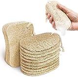 Kitsure Esponjas para cocina, 15 piezas de esponja para platos con 2 diseños para limpiar, esponjas de lufa eliminan eficazmente las manchas de aceite, esponja natural 100% fibras vegetales
