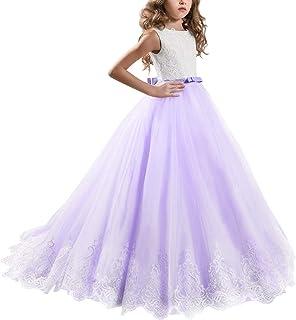 IBTOM CASTLE Girls Flower Lace Princess Christmas Communion Tulle Dress Long Pageant Gown Floor Length Prom Dance Evening