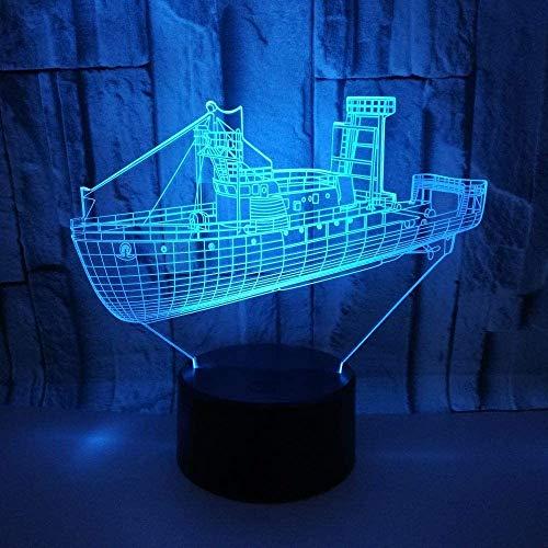 Creatieve boot 3D verlichting USB nachtlicht 3D nachtlicht kleurrijke 3D tafellamp met afstandsbediening kindergeschenk