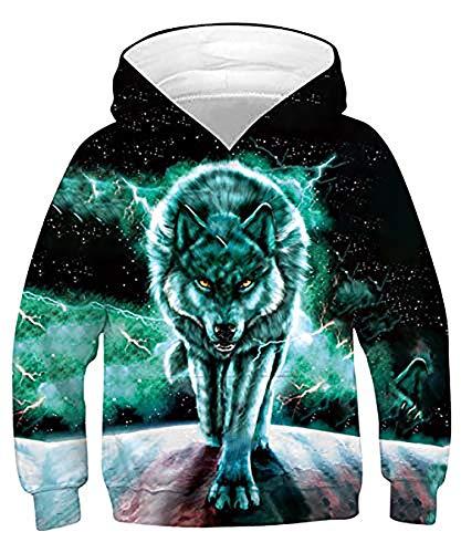 ALISISTER Kinder 3D Blitz Wolf Druck Hoodie Sweatshirt Unisex Lustige Langarm Pullover Kapuzenpullover Kapuzen Sweatshirt mit Taschen M