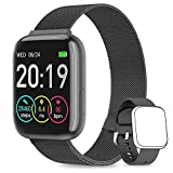 NAIXUES Smartwatch Orologio Fitness Sportivo Donna Uomo Impermeabile Smart Watch Cardiofrequenzimetro Contapassi da Polso Monitor Pressione Sanguigna Activity Tracker Compatibile con Android iOS(Nero)
