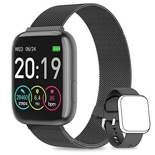 NAIXUES Smartwatch Orologio Fitness Sportivo Donna Uomo Impermeabile Smart Watch Cardiofrequenzimetro Contapassi da Polso Monitor Pressione Sanguigna Activity Tracker Compatibile con Android iOS(Nero)