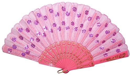 Das Kostümland Barock Fächer mit Glitzer Pailletten Rosa - Tolles Accessoire zu Karneval, Mottoparty oder heiße Sommerzeit
