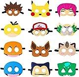 WENTS Pikachu Masken Spielzeug Party Masken 12 Stück Kinder Cosplay Masken Cosplay Party Masken Geburtstag Augen Masken passen für Maskerade