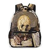 頭蓋骨とローソク足 バックパックビジネスリュック多机能大容量登山リュックフィットネスバッグアウトドア用バックパック