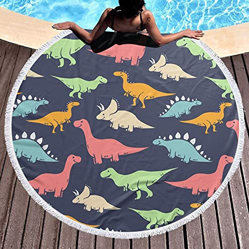 Toalla de playa redonda con diseño de dinosaurio monstruo impresa, para yoga, picnic, mantel redondo, ultra suave, súper absorbente de agua, toalla de rizo con borlas