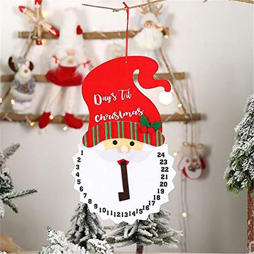 Kaned Weihnachts Santa Schneemann Adventsuhr Kits Countdown-Kalender für Kinder Wandbehang Dekoration,Weihnachtsmann
