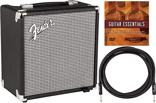 Fender Rumble 15 V3 1X8' 15W Bass Combo Amplifier Bundle with Fender Instrument Cable and Austin Bazaar Instructional DVD