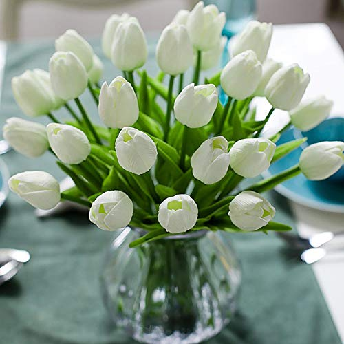 Veryhome Fiore Artificiale Fiore Finto Tulipano Materiale in Lattice Vero Tocco Matrimonio Stanza Famiglia Alberghi Festa DIY al operto Decorazione Bianco -10 Pezzi