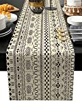 Burlap Linen Table Runner - 90 Inch Long, African Mud Cloth Traditional Ethnic Tribe Kitchen Dining Table Runner Dresser Scarves, Beige Brown Artistic Geometric Farmhouse Decor for Party Banquet