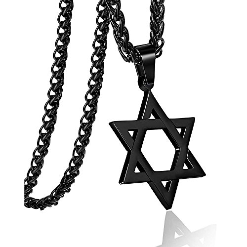 Star of David ChainSix Star Necklace Hiphop Stainless Black