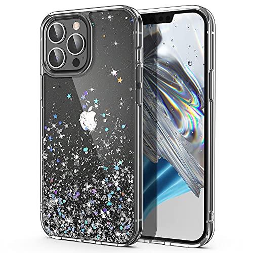 ULAK Glitzer Hülle Kompatibel mit iPhone 13 Pro, Sparkle Sterne Glitter TPU Stoßfest Handyhülle Durchsichtig Bling Schutzhülle Phone Hülle Cover für iPhone 13 Pro 6,1 Zoll - Silber Glitzer