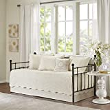 Madison Park Daybed Cover Set-Trendy Damask Quilting with Scalloped Edges All Season Luxury Bedding with Bedskirt, Matching Shams, Decorative Pillow, 75'x39', Tuscany Cream, 6 Piece
