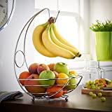 St@llion fruttiera/Fruit Holder display Wire cestino con banana Hanger Hook - Chrome