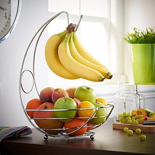 St@llion Cesta de exhibición de alambre de frutero / soporte de fruta con gancho de suspensión de plátano - cromo