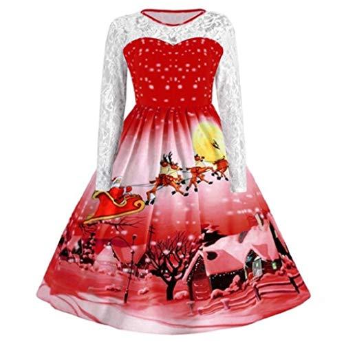 Luckycat Damen Damenmode Spitze Langarm Hülsen Weihnachtsschnee Druck Weinlese Schwingenkleid Abendkleider Cocktailkleid Partykleider Blusenkleid Mode 2018