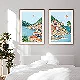 VUSMH Poster de Viaje de Italia Cinque Terre Lago de Garda Pintura en Lienzo Montañas Bosque Paisaje Arte de la Pared Regalo Casa Moderna Cuadros de Decoracion 50x70cmx2 Sin Marco