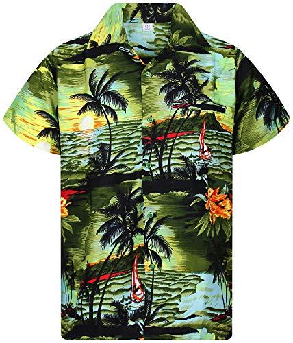 V.H.O. Funky Hawaiihemd, Kurzarm, New Surf, Dark Green, L