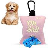 Dispensador de bolsas de caca para perro de tela - porta bolsas de perro con capacidad para 2 rollos - Dispensador de bolsas de excremento con anilla para colgar (ROSA)