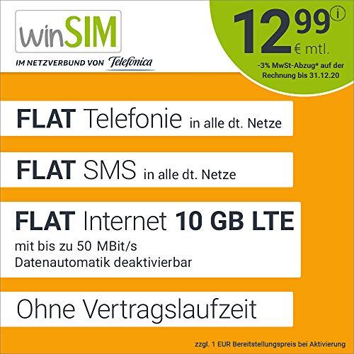 Handyvertrag winSIM LTE All 10 GB - ohne Vertragslaufzeit (FLAT Internet 10 GB LTE mit max. 50 MBit/s mit deaktivierbarer Datenautomatik, FLAT Telefonie, FLAT SMS und EU-Ausland, 12,99 Euro/Monat)