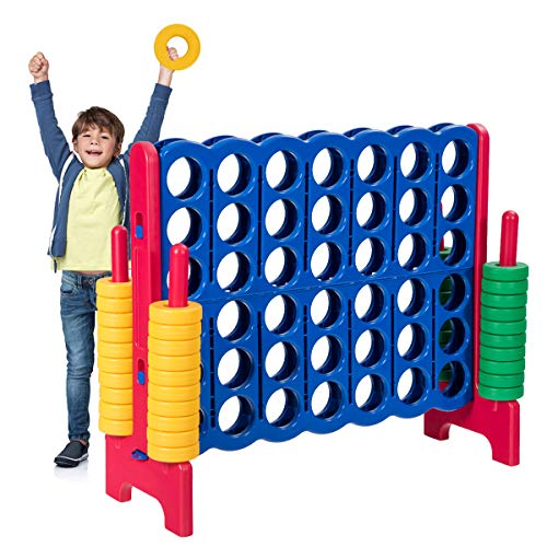 Costzon Giant 4-in-A-Row, Jumbo 4-to-Score Giant Games for Kids & Adults, Indoor Outdoor Party Family Connect Plastic Game, 4 Feet Wide by 3.5 Feet Tall w/42 Jumbo Rings & Quick-Release Slider (Red)
