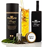 Tea Infuser Bottle by Maya Luxurious - Leakproof Double Wall Glass Travel Tea Mug with Stainless...