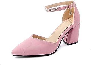 BalaMasa Womens ASL06494 Imitated Suede Block Heels