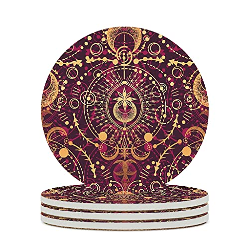 Wraill Round Coasters Red Gold Ceramic Coasters Set of 4/6 Absorbent Coasters with Cork Back for Cups and Cups White 4 Pieces