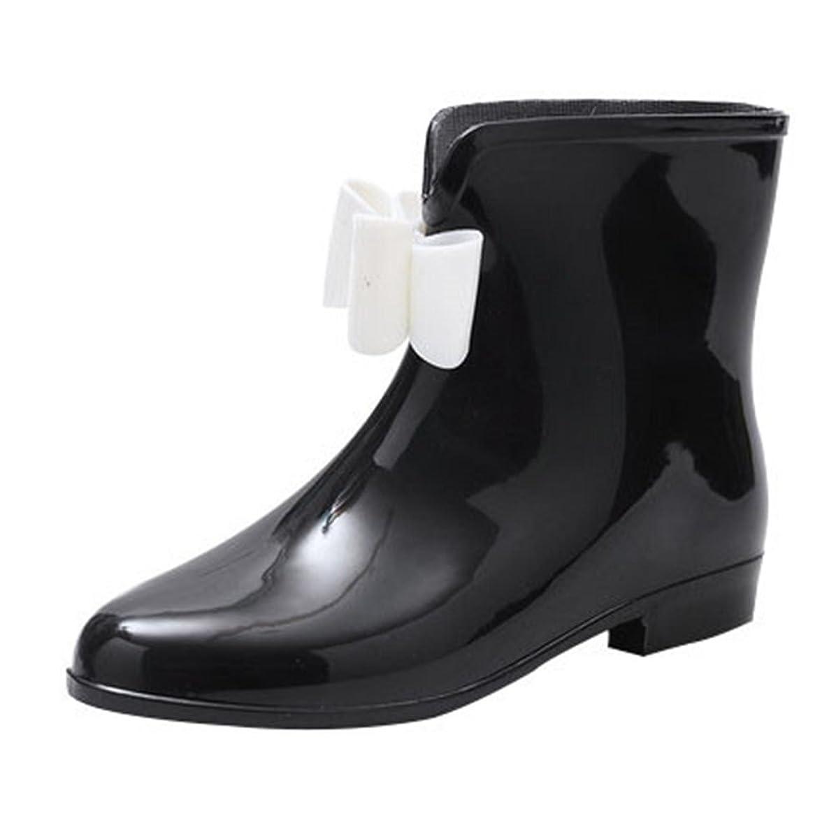 外観フレキシブルゆるくBESTLEE レインシューズ リボン付き レディース 無地 長靴 軽量 防水 梅雨 おしゃれ