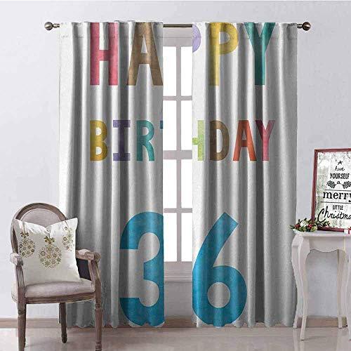 Wild One Curtain Cortina de Color Resistente al Desgaste para cumpleaños número 36 con impresión de la Edad Media y Texto en inglés Happy Birthday, Tela Impermeable