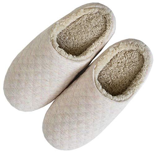 [SHPEROWW] レディース メンズ ルームシューズ スリッパ 綿 かわいい 室内履き 部屋 静音 滑り止め あったか もこもこ 防寒 秋冬 ベージュ 24.0-24.5cm