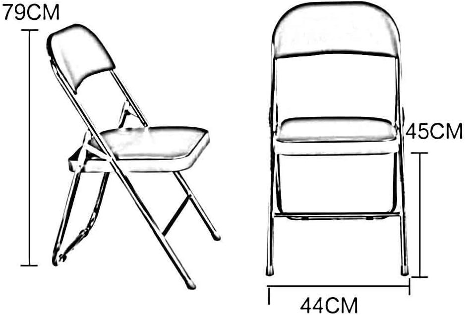 YCSD Chaise Pliante Anti-Rouille De Tuyaux en Acier PU Rembourré Loisir Simple  Adulte  Dossier Ordinateur Chaise De Bureau Et De Conférence (Color : Dark Green) Black