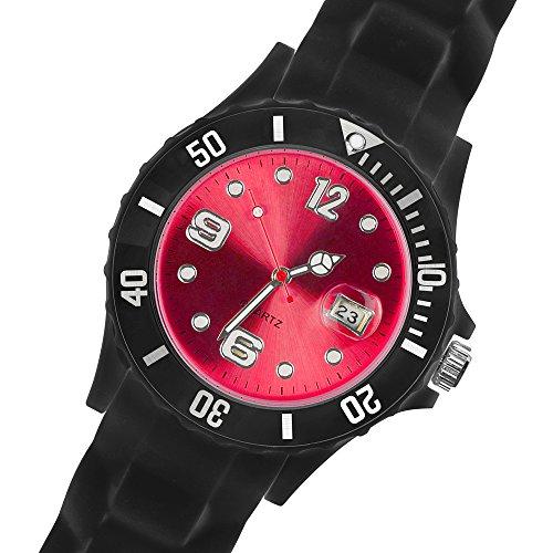 Taffstyle Damen Herren Sportuhr Armbanduhr Silikon Sport Watch Farbiges Ziffernblatt mit Datum Analog Quarz Uhr Schwarz Rot