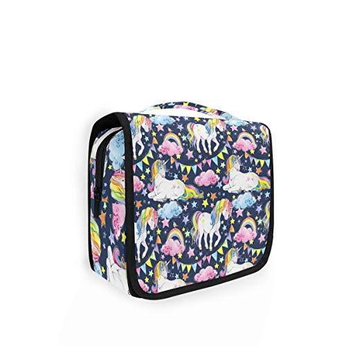 XIXIKO Bunte Einhorn-Tier-Regenbogen-Muster zum Aufhängen, Kulturbeutel, Reisetasche, Organizer, faltbar, Kosmetiktasche, Make-up-Tasche für Frauen, Mädchen und Damen