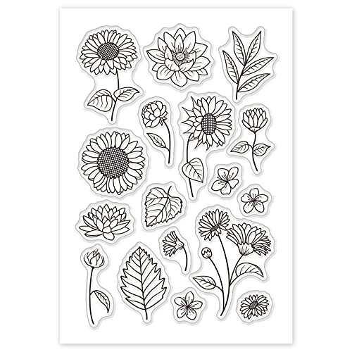 GLOBLELAND Blomma och löv mönster silikon klara frimärken eleganta akrylstämplar för foto scrapbooking-kort albumdekoration, 160 x 110 mm