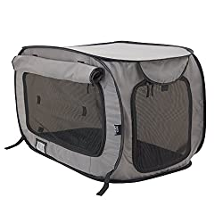 SportPet Designs Large Pop Open Kennel, Portable Cat Cage Kennel, Waterproof Pet bed