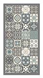 Panorama Tapis du Sol Vinyle Carreaux de Ciments Bleu 60 x 110 cm | Tapis de Cuisine...