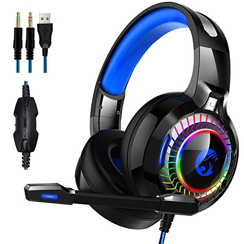 Gaming Headset PS4 Gaming Headset voor PC, Xbox One, Controller, PS4, Mac, NS [50mm Driver]Microfoon, Soft Memory Earcup & LED Light
