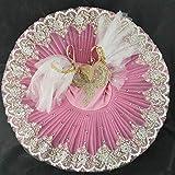 BFBMY Tutú para vestido con tutú de bailarina blanca profesional, tutú para niños, niñas, adultos, bailarina, baile, trajes de baile para niñas (color rosa, tamaño: 150)