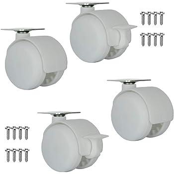 YZZR 1.5pulgadas Ruedas pivotantes con Freno Juego de 4,giratorias Rueda para Muebles /ø40mm,Silencioso//Carga 70kg,Blanco//Gris//Negro,para Mesa Auxiliar