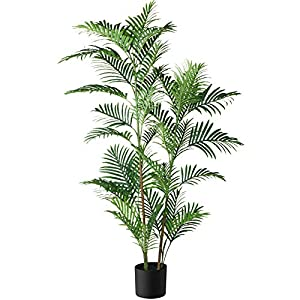 Silk Flower Arrangements Fopamtri Fake Majesty Palm Plant 5.3 Feet Artificial Majestic Palm Tree Faux Ravenea Rivularis in Pot for Indoor Outdoor Home Office Store, Great Housewarming Gift